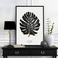 Modern Nordic Poster Painting Black And White Plant Photography 3 Piece Canvas Wall Art Prints For