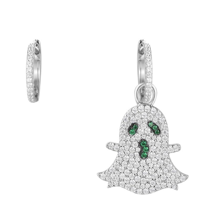 SKA Brand Drop Earrings For Women Unsymmetrical Monaco Jewelry Sterling Silver Inlaid Zircon Phantom Shaped Earrings AE10564KGX