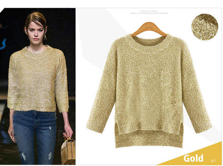 2015 autumn and winter new women's short shiny gold pullover ...