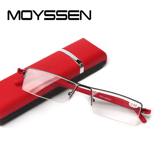 a9ab3c1e6832 Quality Men Portable Half Frame Reading Glasses With Case Women Small Square  Far Sight Presbyopic Eyewear Ultral Light TR90 Leg