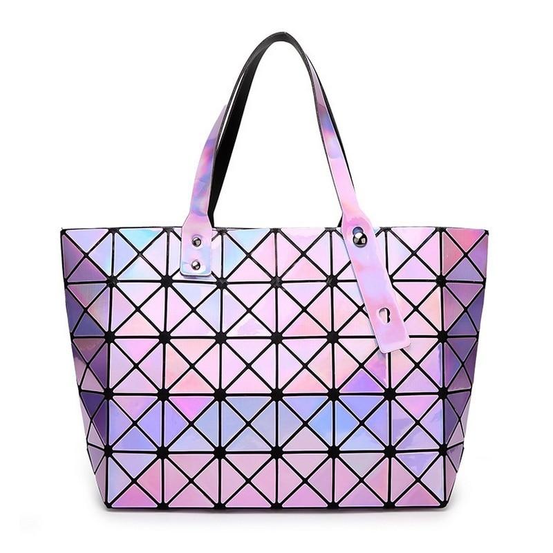 ФОТО Laser BaoBao Women Dazzle Color Plaid Tote Casual Bags Female Fashion Fold Over Handbags Lady Sequins Mirror Saser Bag Bao Bao