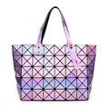 Laser BaoBao Women Dazzle Color Plaid Tote Casual Bags Female Fashion Fold Over Handbags Lady Sequins Mirror Saser Bag Bao Bao