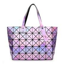 Laser BaoBao Women Dazzle Color Plaid Tote Casual Bags Female Fashion Fold Over Handbags Lady Sequins Mirror Saser Bag Bao Bao