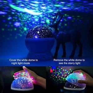 Image 4 - LED Rotating Star Projector Novelty Lighting Moon Sky Rotation Kids Baby Nursery Night Light Battery Or USB Port Operated