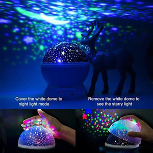 Image 4 - LED מסתובב כוכב מקרן חידוש תאורת ירח שמיים סיבוב ילדים תינוק משתלת לילה אור סוללה או יציאת USB מופעל