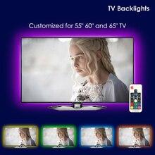 LED TV Arka Işık, UNIBROTHE usbli şerit LED aydınlatma kiti için Özelleştirilmiş TV 55 60 65 inç Monitör Önyargı Aydınlatma RGB ışık şeridi 12.6ft