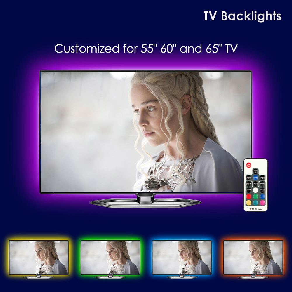 TV LED Backlight,UNIBROTHE USB LED Strip Lights kit Customized for TV 55 60 65 inch Monitor Bias Lighting RGB Light Strip 12.6ft