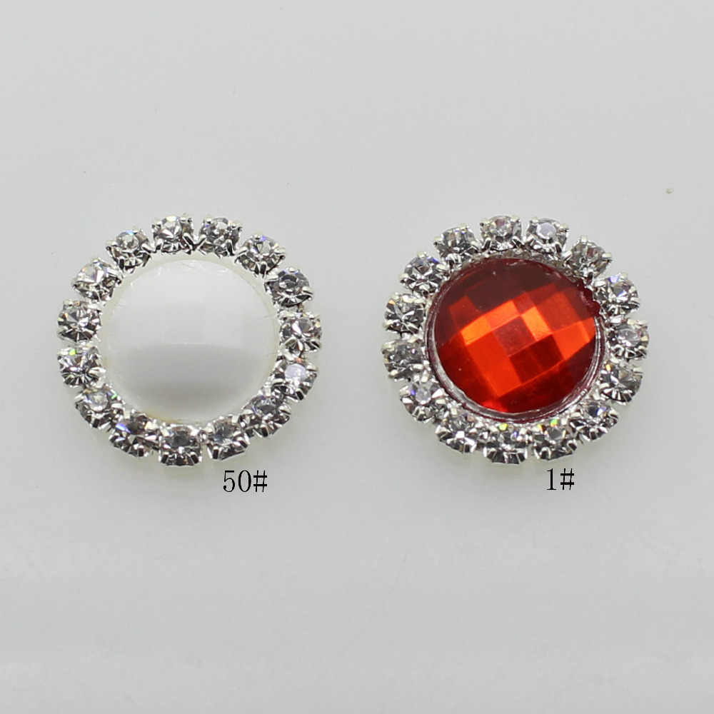 ZMASEY Harga Jual 10 Pcs/Lot 16MM Berlian Imitasi Tombol Acrylic Diamond Tombol Undangan Gail Rambut Ikatan Simpul Bunga Aksesori