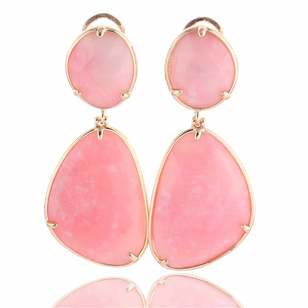 Irregular Pink Rhodochrosite Drop Earrings Gold Plating Big Natural Stone Drop Dangle Earrings For Women Fashion Party Jewelry