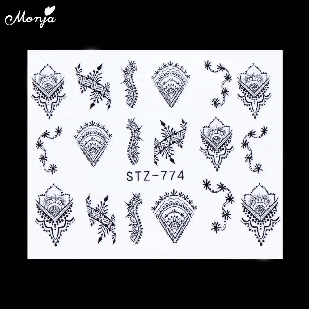 Monja 11pcs เล็บสีดำสไตล์สติกเกอร์โอนน้ำสร้อยคอดอกไม้ Feather Design สติ๊กเกอร์ลายน้ำทำเล็บ DIY ตกแต่ง