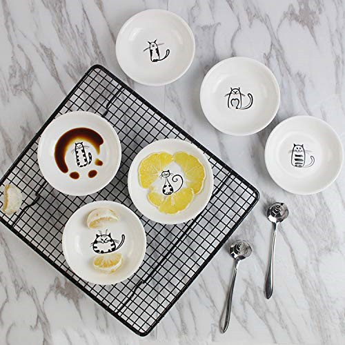 Super Cute Cat Ceramic Sauce Dish,Mini Side Seasoning Dish,Condiment Dishes,Sushi Soy Dipping Bowl,Snack Serving Dishes,Meow Porcelain Small Saucer Set03