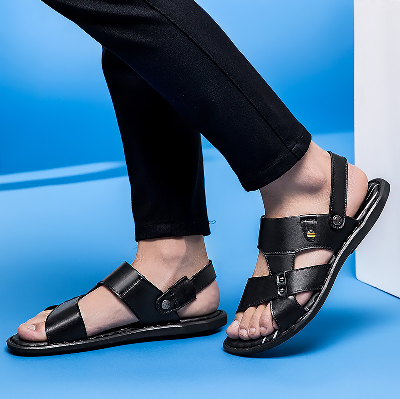 Outdoo Sobre Masculino Homens brown Genuíno Black Sapatos Confortáveis Sandálias Qualidade Para Couro Da Flats Moda P4 De Alta Deslizar Dos q4nnH60Y