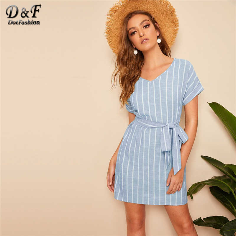 Dotfashion V Neck Vertical Striped Belted Dress Women 2019 Summer Boho Short Sleeve Cute Tunic Ladies Straight Short Dresses