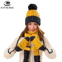 CIVICHIC, Женский Теплый комплект, вязаная шапка, шарф, перчатки, женские зимние шапки с помпоном, толстая повязка на голову, разноцветная шаль, варежки ручной работы SH168