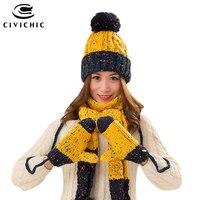 CIVICHIC Woman Ấm Set Knit Hat Scarf Glove Nữ Mùa Đông Súng Đại Bác Tự Beanies Dày Mũ Nón Màu Mix Khăn Choàng Làm Bằng Tay Găng SH168
