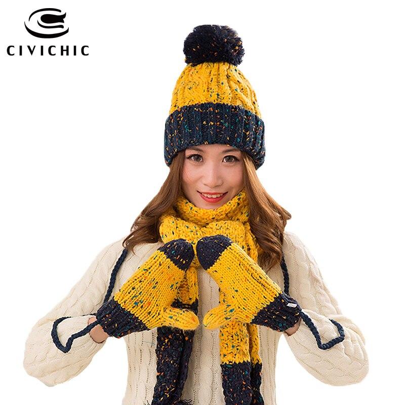CIVICHIC Woman Warm Set Knit Hat Scarf Glove Female Winter Pompon Beanies Thick Headwear Color Mix Shawl Handmade Mittens SH168