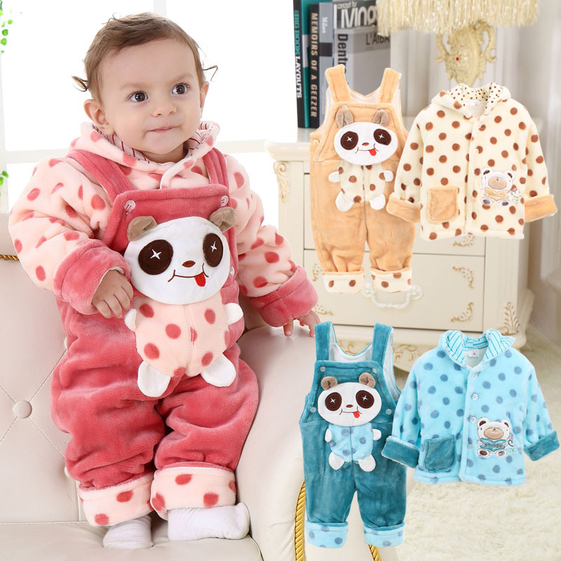2016 winter fashion baby clothes set snow wear baby girl clothes warm cotton coat and bib pants Mla winter style fashion set