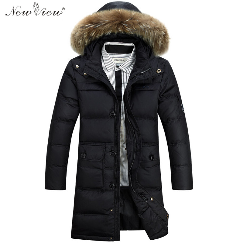 Down Jacket Winter 90% Duck Down Coat Men Thick Warm Long Parka Mens Fur Hooded Winter Jacket Plus Size 4XL Jaqueta Masculina 2015 mens down padded coat fashion splice leather patchwork male down coat hooded winter jacket man fur collar plus size xxxxxl