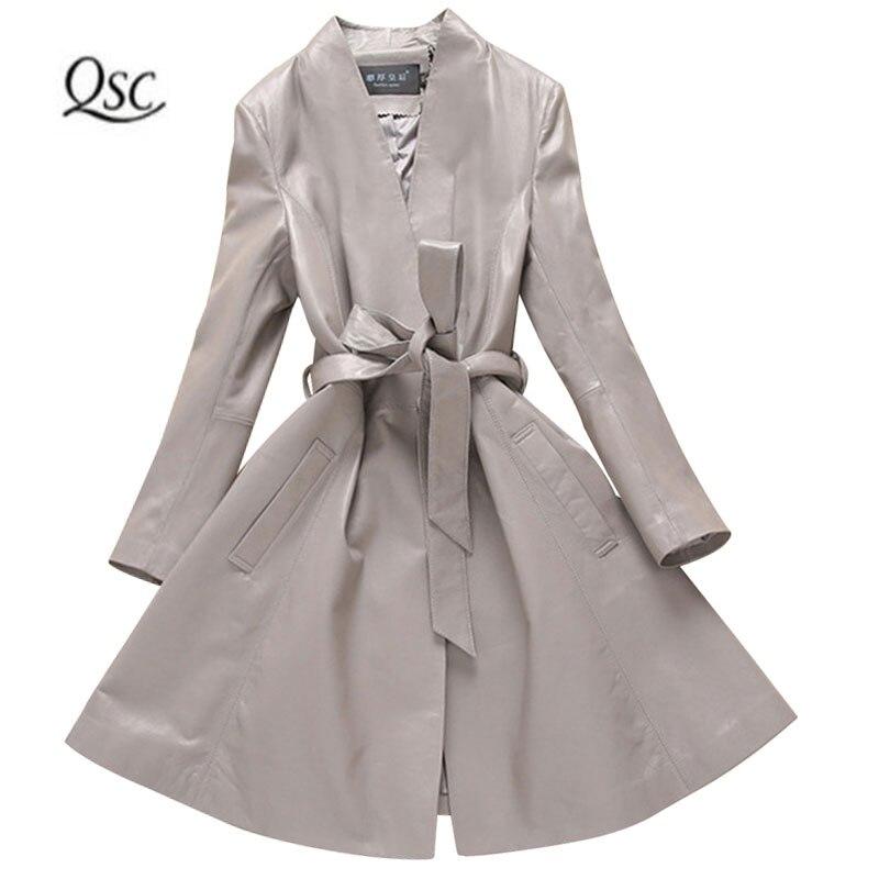 2018 Новый Демисезонный Soft 100% из натуральной овечьей кожи куртка Для женщин Дамы Пояса Длинные куртки тонкий серый пальто Пояса из натурально...