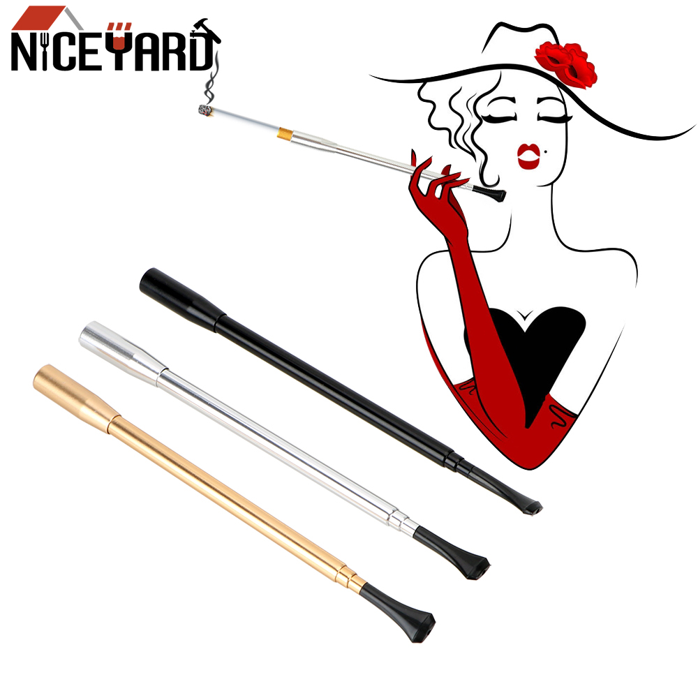 NICEYARD Aluminum Alloy Retractable Smoking Pipe Women's Long Series Portable Cigarette Holder Cigarette Accessories