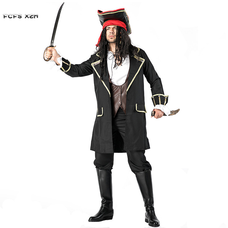 Halloween Jack Sparrow Costumes Men Pirates of the Caribbean Cosplays Carnival Purim Masquerade Stage play Nightclub party dress