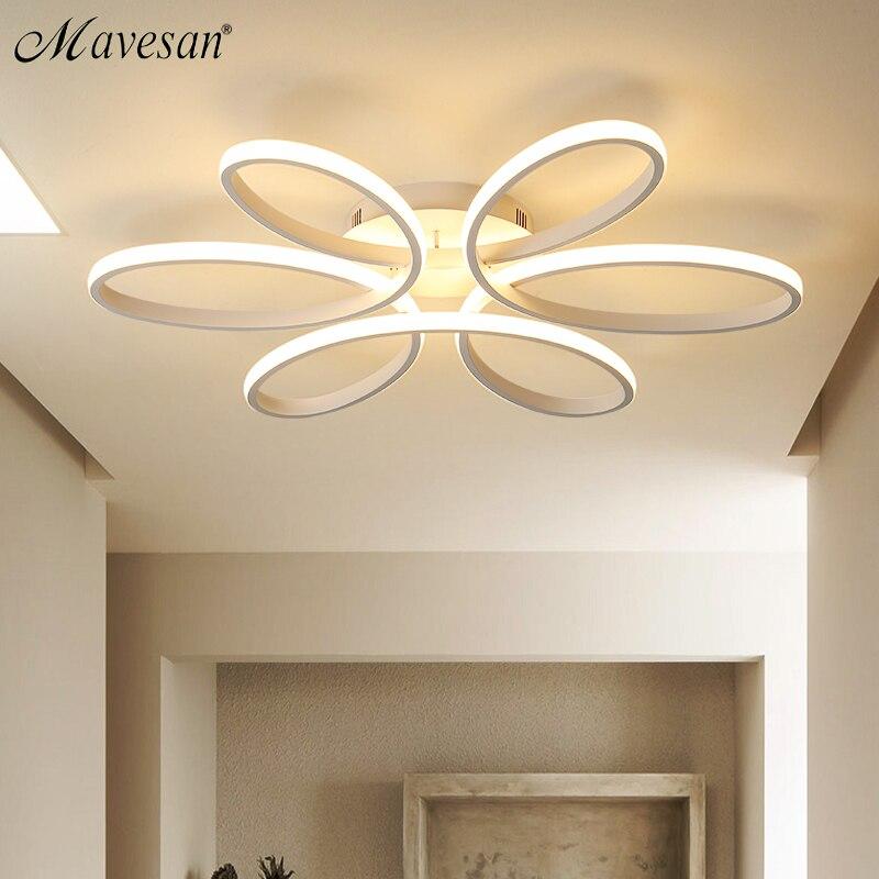 Современные светодио дный светодиодные потолочные светильники для гостиной спальни AC85-265V белый/черный цвет Пульт дистанционного управлен...