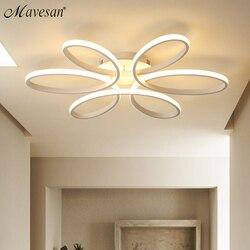 Luces de techo LED modernas para sala de estar dormitorio AC85-265V Blanco/Negro control remoto iluminación interior lámpara de techo