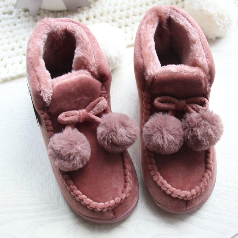 Women Floor Home Shoes Soft High Cut Couple Lover Thick Plush Anti Slip Indoor Boots Shoes