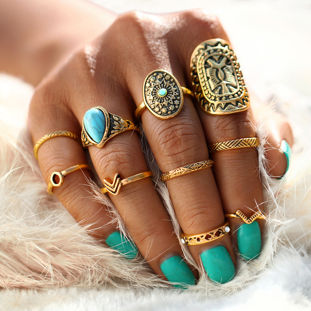 10 Pcs/Set Antique Silver Color Bohemian Midi Ring Set Vintage Steampunk Anillos Knuckle Rings For Women Boho Jewelry