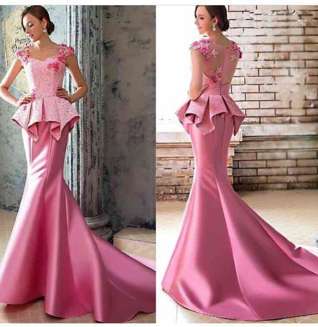 Hot Pink Wedding Dress 2015 Lace Mermaid Sweetheart Romantic Royal ...