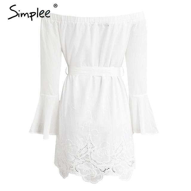 Simplee Elegant off shoulder cotton white dresses women Sexy long flare sleeve girl lace dress Summer beach chic dress vestidos