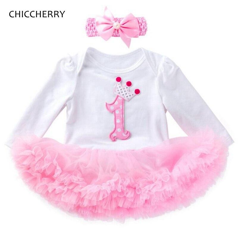 af03a8a65884c 1 Year Girl Baby Birthday Dress Headband Toddler Birthday Outfits Vestido  De Festa Infantil Vestiti Bambina