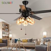 Vintage Ceiling Fan With Lights Remote Control Ventilador De Techo 220 Volt Bedroom Ceiling Light Fan Lamp E27 Bulbs