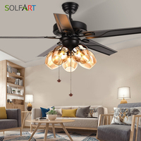 Vintage Ceiling Fan With Lights Remote Control Ventilador De Techo 220 Volt Bedroom Ceiling Light Fan Lamp E27 Bulbs