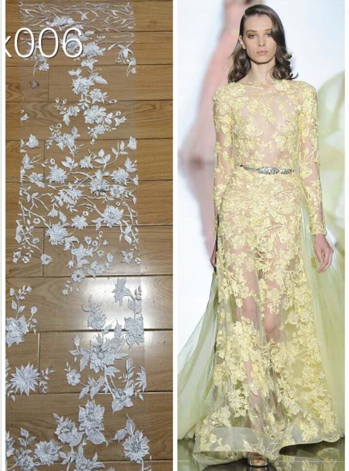 african french lace fabric high quality LJY 51613 in white for wedding party dress