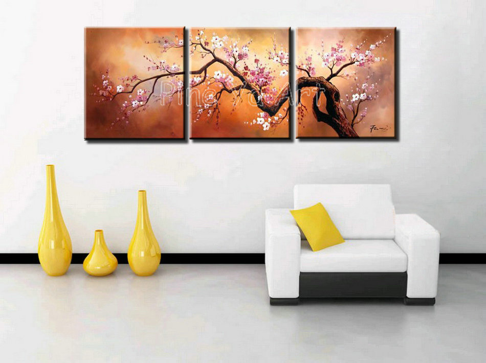 3 panel abstract modern canvas wall art pink cherry blossom Chinese ...