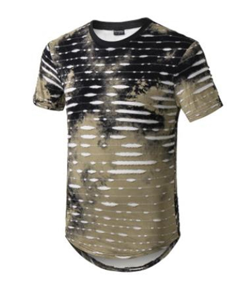 Mens High Street Longline Tshirts Summer Designer O neck Long Holes Printed Tees Short Sleeved in T Shirts from Men 39 s Clothing