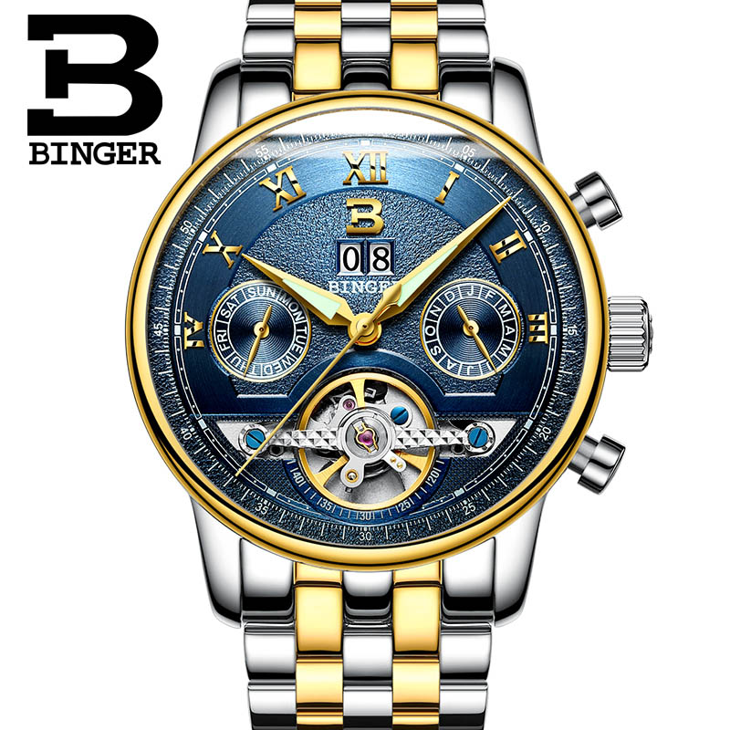 Mens Watches Top Brand Luxury BINGER Men Sport Tourbillon Automatic Mechanical Full Steel Wristwatch  relogio masculino Blue dia mens watches top brand luxury holuns 2017 men watch sport tourbillon automatic mechanical stainless steel wristwatch relogio mas