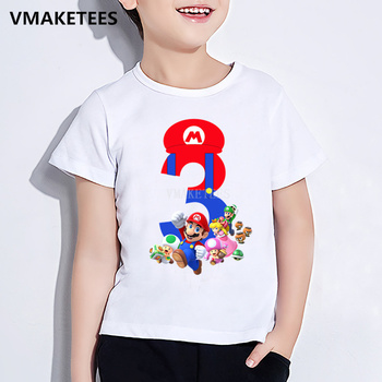 Kids Super Mario Bros Number 1-9 Print T shirt Boys/Girls Happy Birthday Gift Number Clothes Baby Cartoon Funny T-shirt,ooo5267