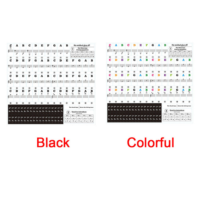 54/61 Keys Music Decal Sticker Label PVC Note Removable Biginners Piano Keyboard Stave 4