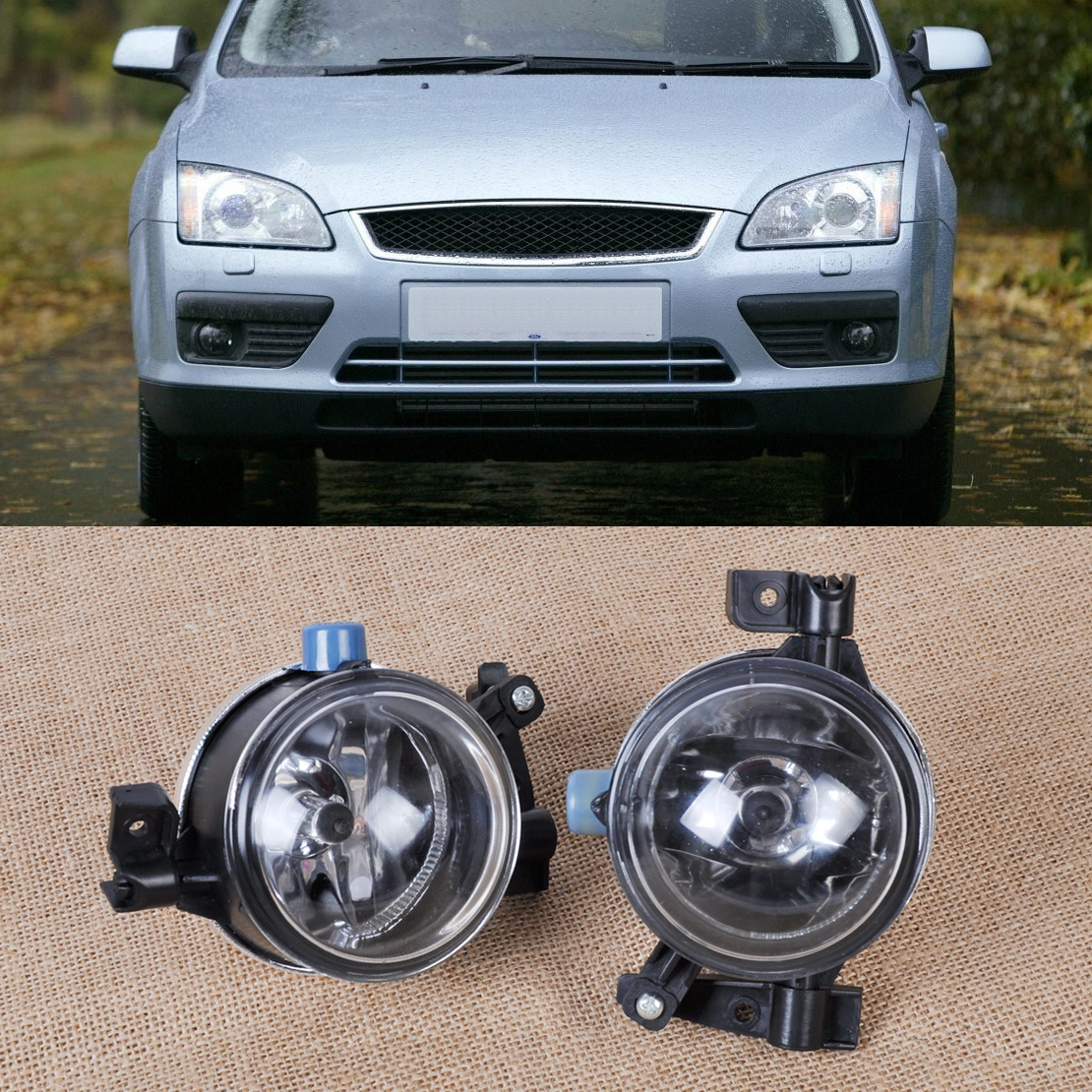 beler 2pcs Black Left + Right Side Fog Lights Lamp 55W 12V 3M51-15K201-AA 3M51-15K202-AA for Ford Focus 2005 2006 2007