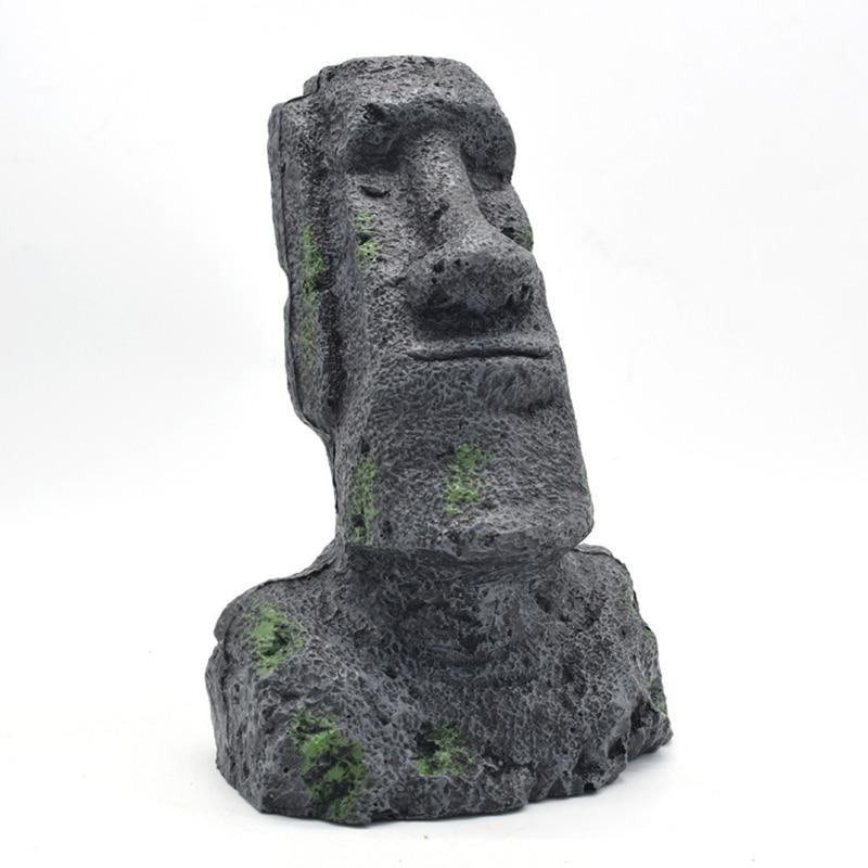 Easter Island stone statue resin ornament fish tank aquarium decoration gnome terrarium Reptile Tank Artificial Stone Home Decor6