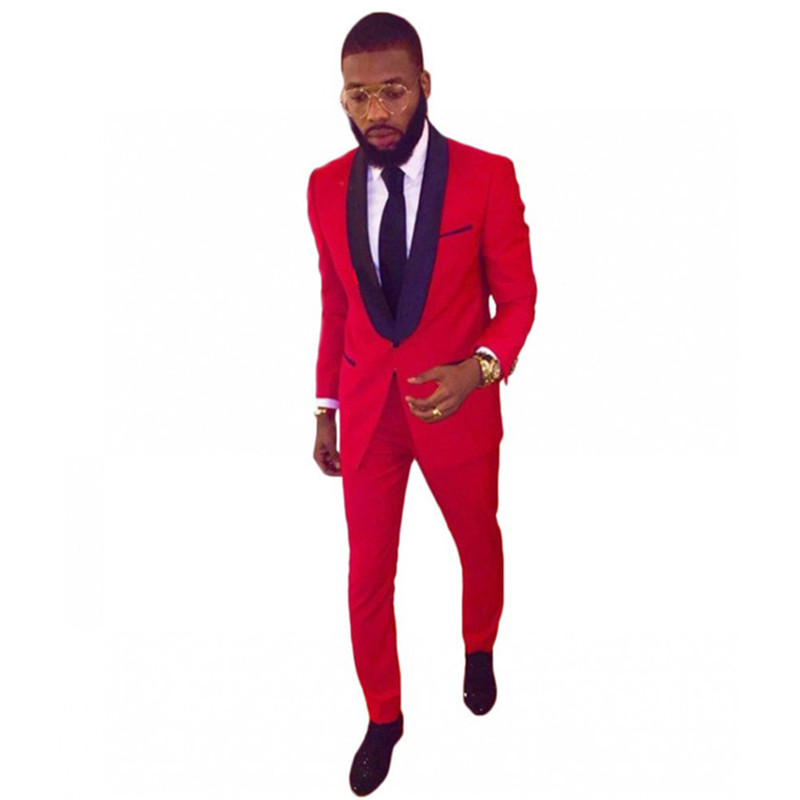 Custom Made Men Suit Set 2 Pieces Red Blazers For Prom