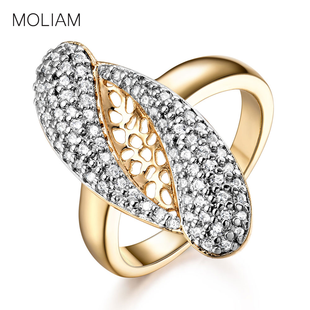 MOLIAM Unique Design Ladies Rings Fashion Jewelry Gold-Color Mid Finger Ring Pave with Cubic Zirconia Stone MLR577