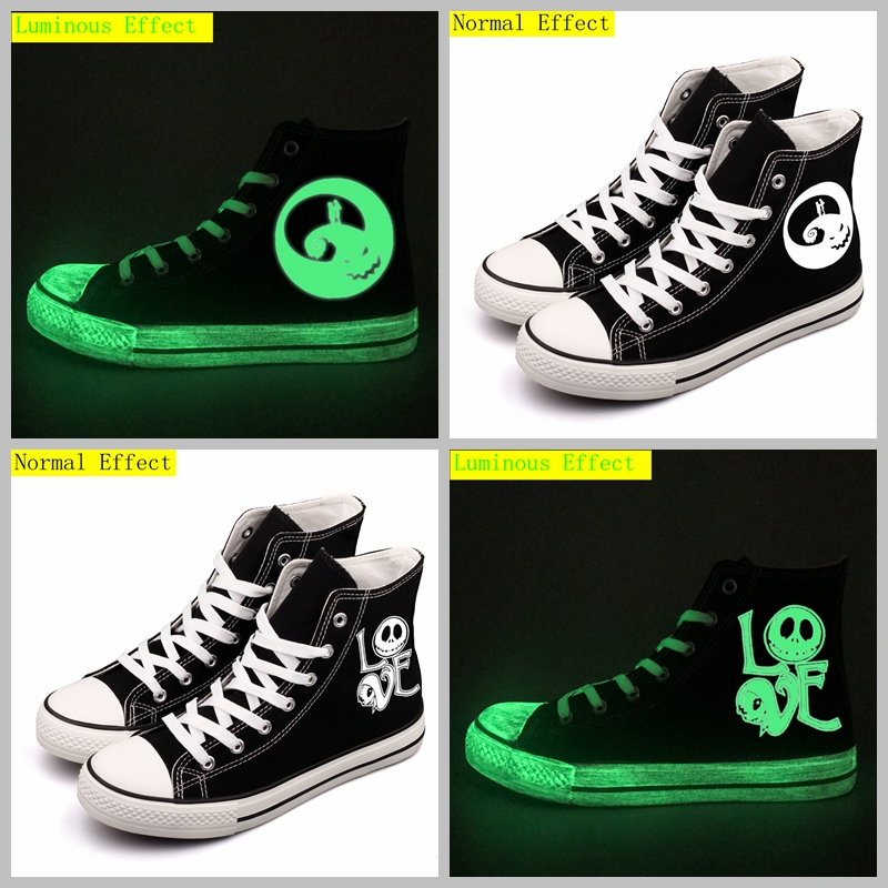 Cool Halloween Monster Custom Printed Canvas Shoes High Top Luminous Pumpkin Witch Designer Halloween Gifts For Couples Lovers plus size halloween castle pumpkin high low tee