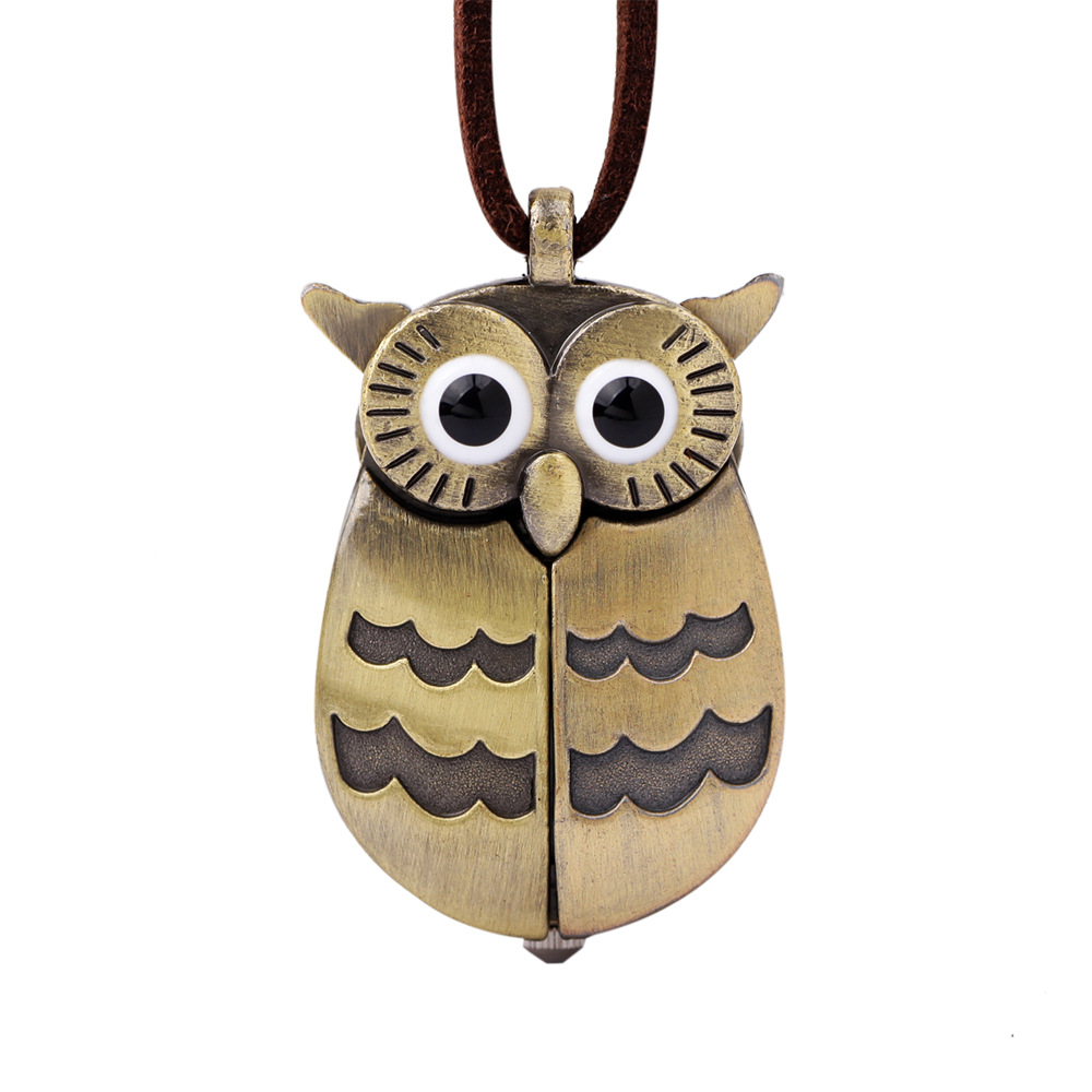 Lucky Owl Quartz Pocket Watches Men Women Necklace Brown Antique Pendant Watches Leather Pocket Watch Chain Relogio Bolso Antigo womens ripped jeans with embroidery summer 2017 ladies straight cotton denim casual pants pantalones vaqueros mujer garemay 2610