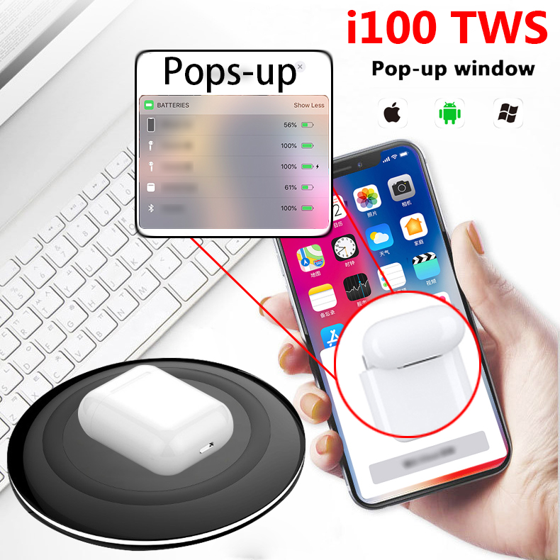 Youbina Original I100 TWS Pop up 1:1 réplique sans fil écouteurs utilisation séparée Bluetooth 5.0 écouteurs PK w1 puce i30 pour téléphone