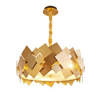 Modern Gold Stainless Steel Pendant Light Luxury Living Room Dinning Room Lustre Pendent American Simple Metal Hanging Light