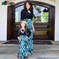 Мать дочь платья Мода Черный с длинным рукавом Лоскутная Синий платье Семья соответствующие наряды ПРО Семья посмотрите huarache