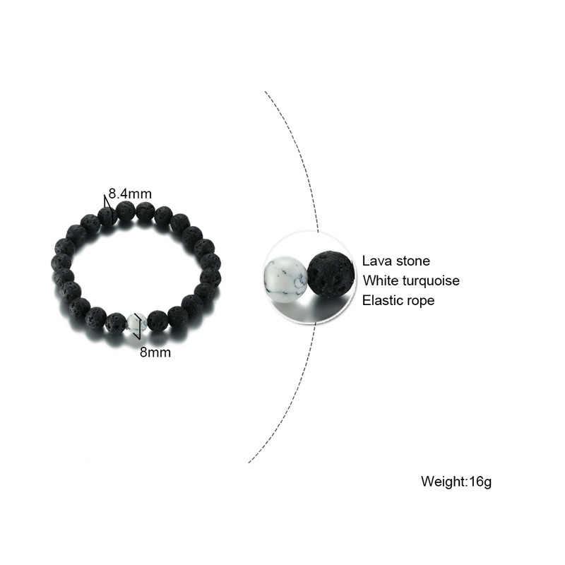 Vnox 2 ピース/セットカップル距離のブレスレット天然石白と黒陰陽ビーズベストフレンズブレスレットギフト